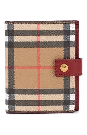 Кожаный кошелек в клетку Vintage Check Burberry красного цвета | Фото №1