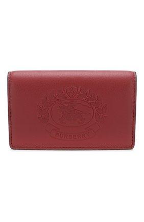 Женский кожаный футляр для кредитных карт с отделением для монет BURBERRY красного цвета, арт. 4080086 | Фото 1