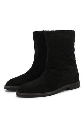 Высокие замшевые ботинки с внутренней отделкой из овчины | Фото №1