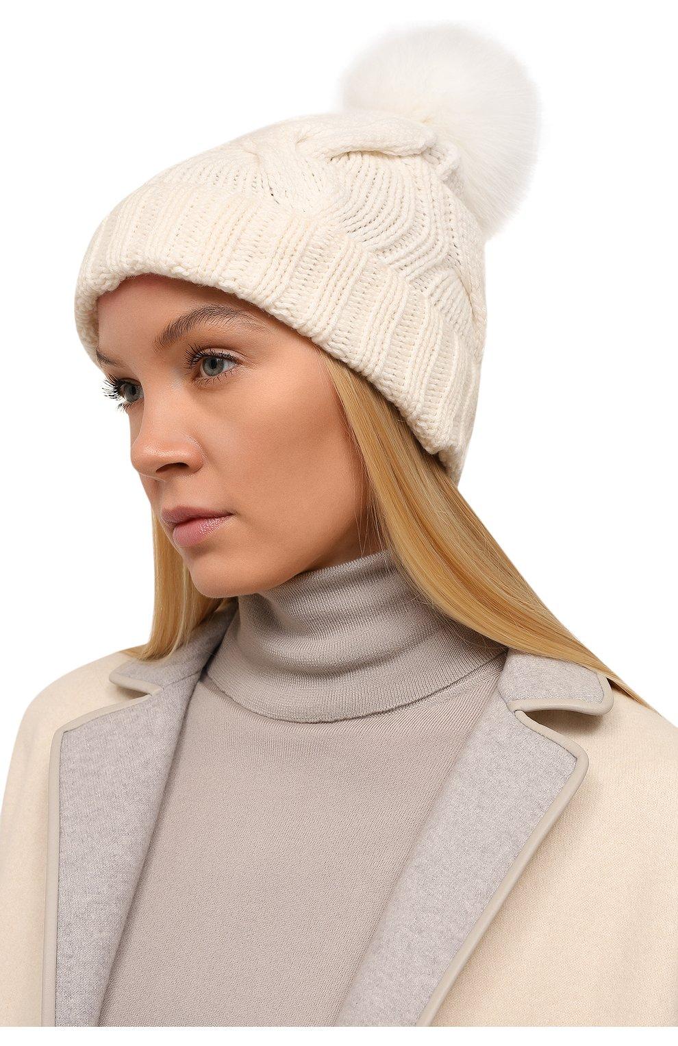 Кашемировая шапка с меховым помпоном Loro Piana белого цвета | Фото №2
