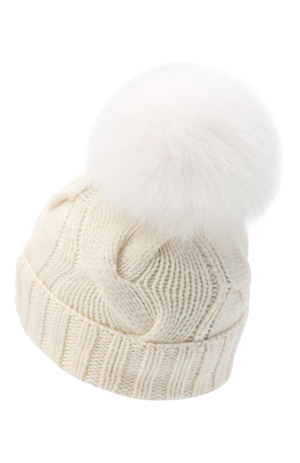 Кашемировая шапка с меховым помпоном Loro Piana белого цвета | Фото №3