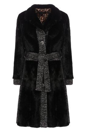 Женская шуба из меха норки с поясом DOLCE & GABBANA черного цвета, арт. I0A30W/FUPLH | Фото 1