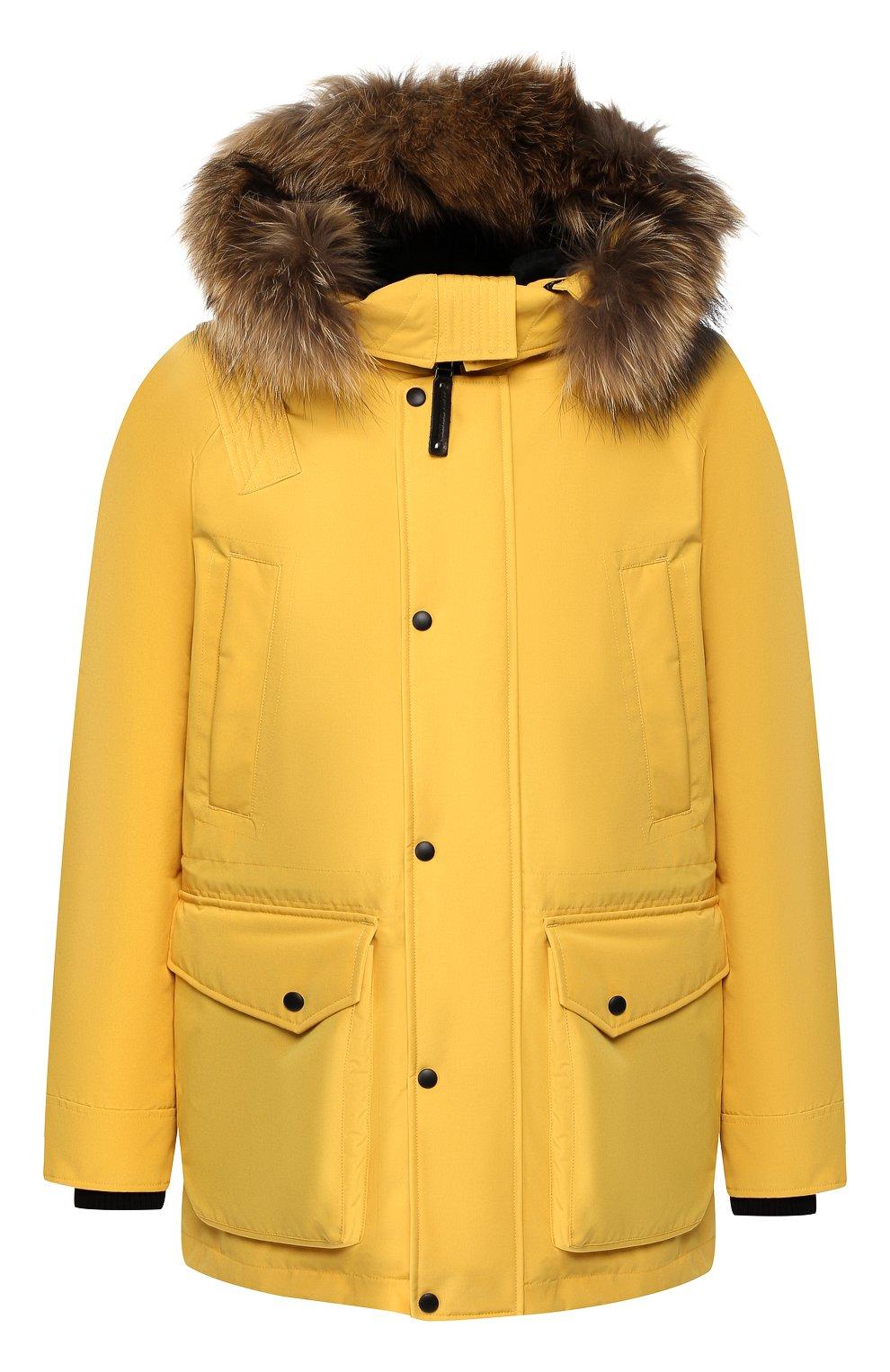 Мужская пуховая парка chill с меховой отделкой капюшона ARCTIC EXPLORER желтого цвета, арт. CHILL_YELLOW | Фото 1