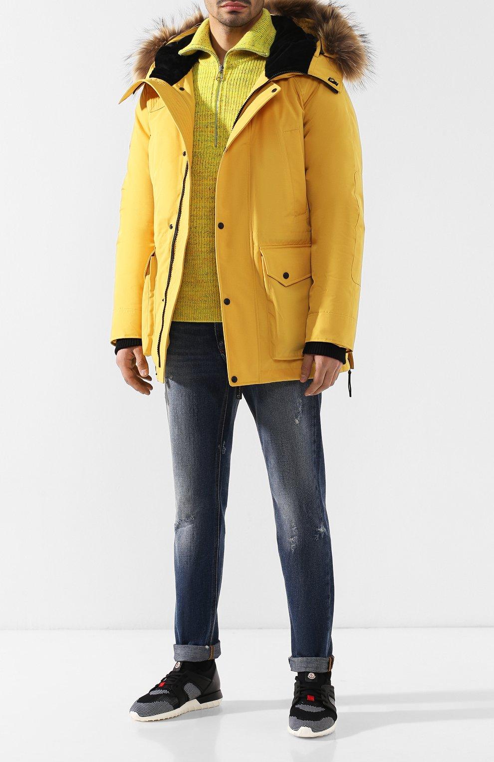 Мужская пуховая парка chill с меховой отделкой капюшона ARCTIC EXPLORER желтого цвета, арт. CHILL_YELLOW | Фото 2