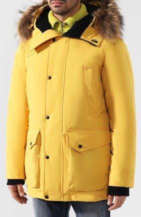 Мужская пуховая парка chill с меховой отделкой капюшона ARCTIC EXPLORER желтого цвета, арт. CHILL_YELLOW | Фото 3