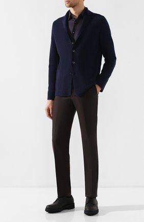 Мужская рубашка из смеси шелка и кашемира с хлопком  ZILLI коричневого цвета, арт. MFQ-10402-64019/RS01   Фото 2