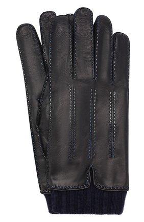 Мужские кожаные перчатки ZILLI темно-синего цвета, арт. 616GANTM161CHEV/C | Фото 1