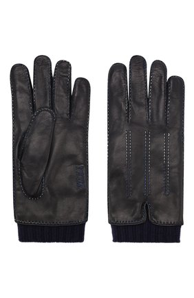 Мужские кожаные перчатки ZILLI темно-синего цвета, арт. 616GANTM161CHEV/C | Фото 2