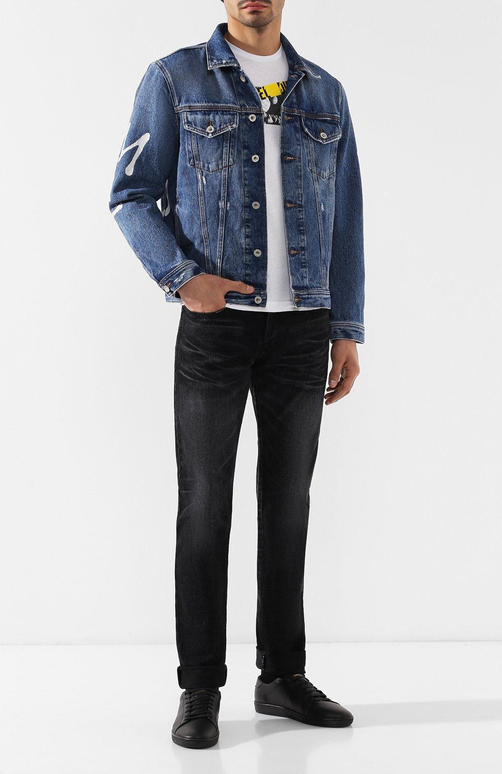Джинсовая куртка с принтом Diesel синяя   Фото №2
