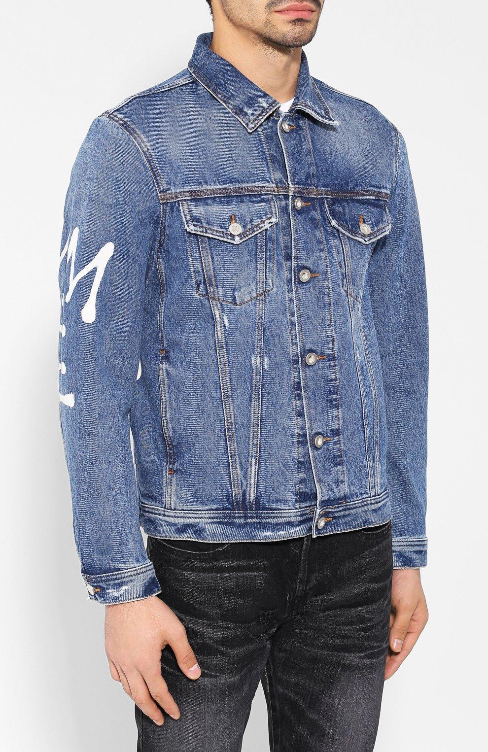 Джинсовая куртка с принтом Diesel синяя   Фото №3