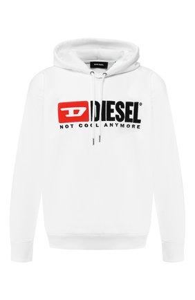Хлопковое худи с логотипом бренда Diesel белый | Фото №1