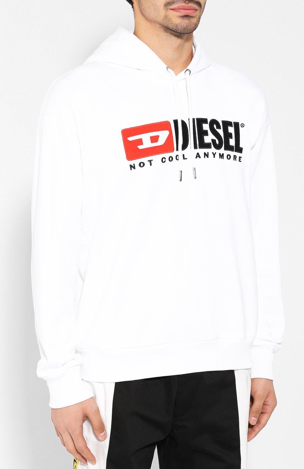 Хлопковое худи с логотипом бренда Diesel белый | Фото №3