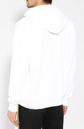 Хлопковое худи с логотипом бренда Diesel белый | Фото №4
