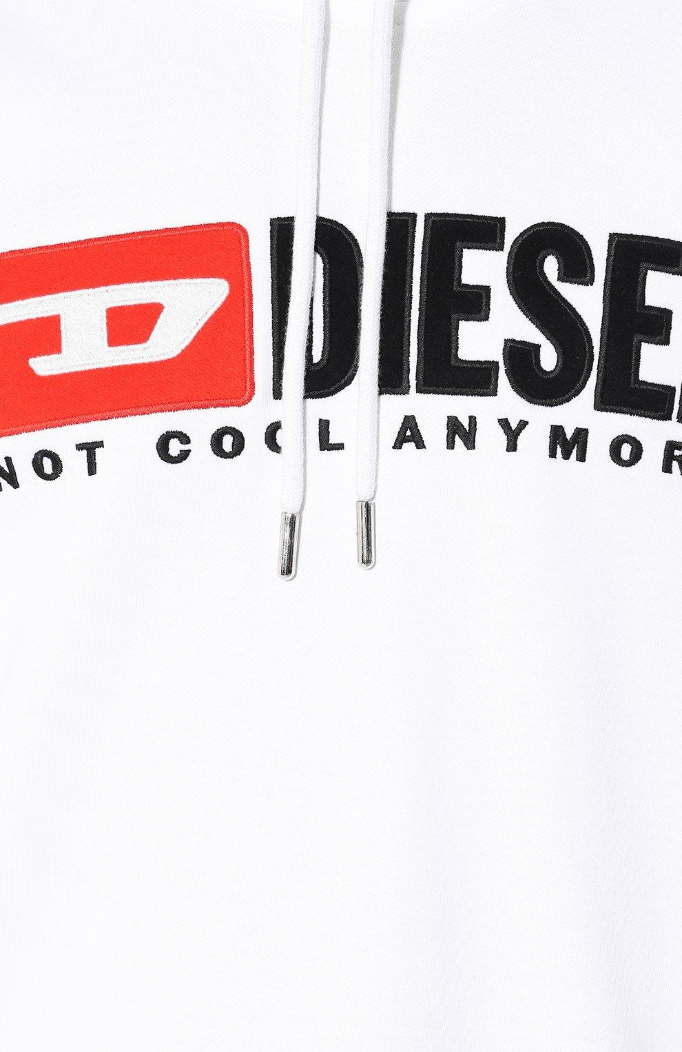 Хлопковое худи с логотипом бренда Diesel белый | Фото №5