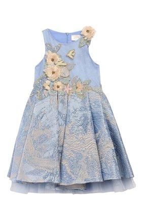 Платье-миди с вышивкой бисером и аппликацией   Фото №1