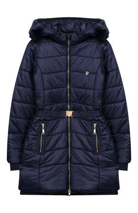 Утепленное пальто на молнии с капюшоном | Фото №1