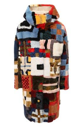 Меховое пальто с капюшоном | Фото №1