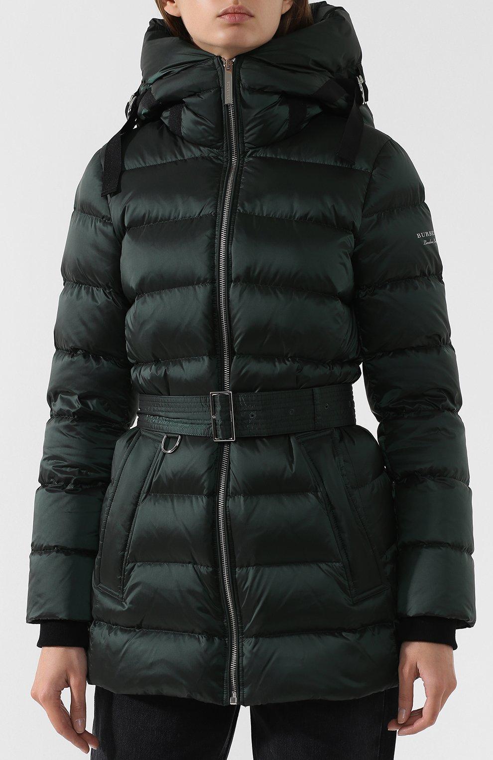 Женская темно-зеленого пуховик с поясом и капюшоном BURBERRY ... d66f44c9350