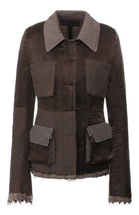 Приталенная куртка с накладными карманами   Фото №1