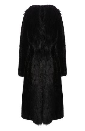 Женская шуба с поясом из меха норки и лисы DOLCE & GABBANA черного цвета, арт. I0A31W/FUPLH | Фото 1
