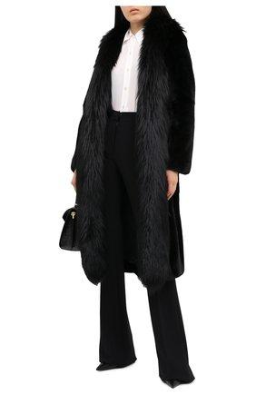 Женская шуба с поясом из меха норки и лисы DOLCE & GABBANA черного цвета, арт. I0A31W/FUPLH | Фото 2
