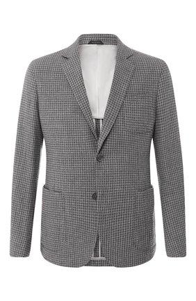 Мужской однобортный пиджак из смеси шерсти и кашемира GIORGIO ARMANI серого цвета, арт. 8WGGG02B/T002G   Фото 1