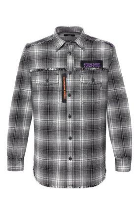 Хлопковая рубашка в клетку с принтом Diesel черно-белая | Фото №1