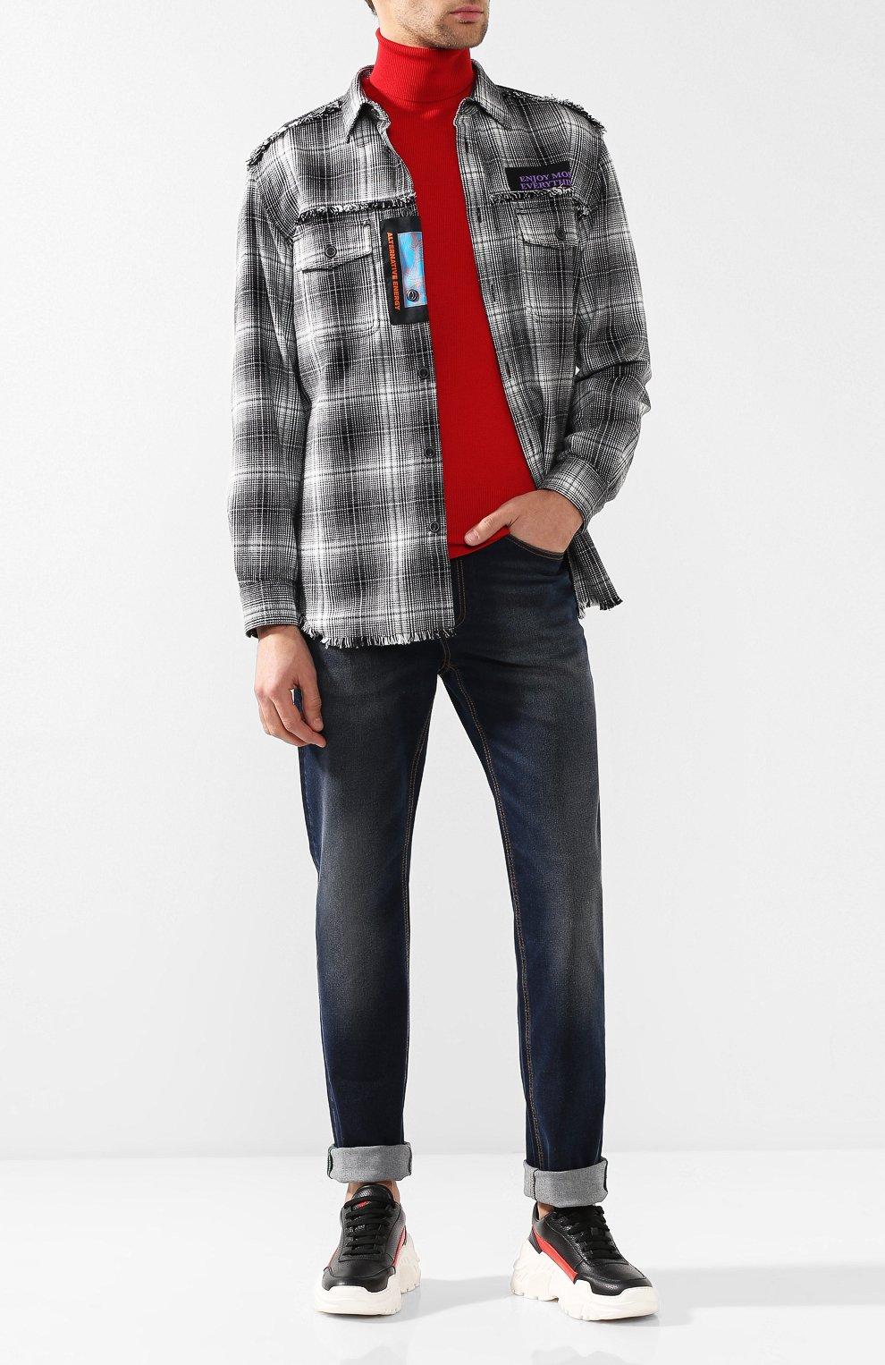 Хлопковая рубашка в клетку с принтом Diesel черно-белая | Фото №2