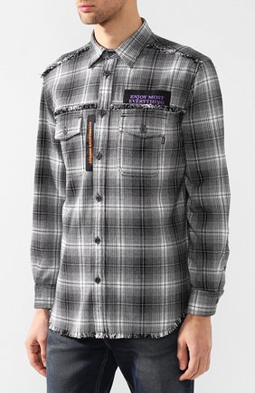 Хлопковая рубашка в клетку с принтом Diesel черно-белая | Фото №3