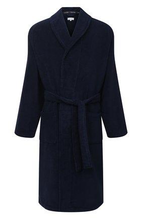 Мужской хлопковый халат с поясом и шалевым воротником CALVIN KLEIN темно-синего цвета, арт. EM1159E | Фото 1