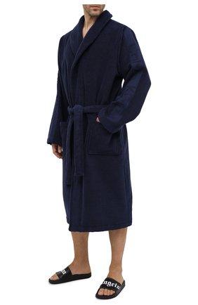 Мужской хлопковый халат с поясом и шалевым воротником CALVIN KLEIN темно-синего цвета, арт. EM1159E | Фото 2