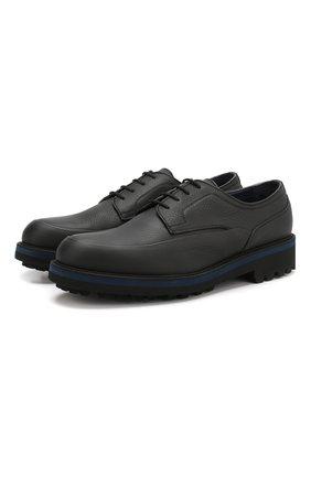 Мужской кожаные дерби на шнуровке ZILLI черного цвета, арт. MDQ-B029/002 | Фото 1