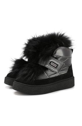 Утепленные ботинки с меховой отделкой | Фото №1
