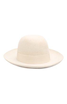 Фетровая шляпа с лентой Borsalino белого цвета | Фото №2