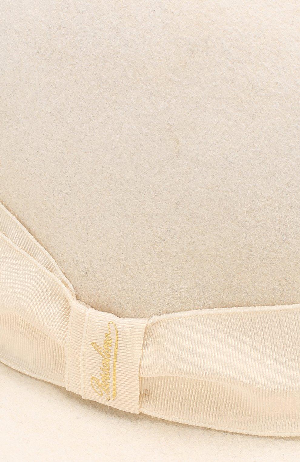 Фетровая шляпа с лентой Borsalino белого цвета | Фото №3