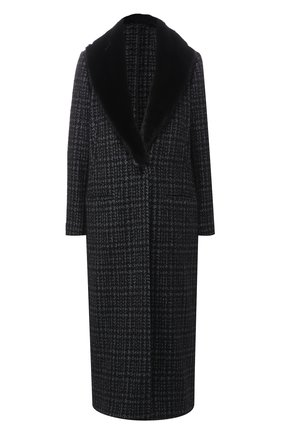 Пальто из смеси шерсти и кашемира с меховым воротником | Фото №1