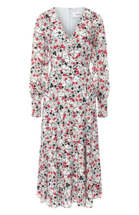 Шелковое платье с V-образным вырезом и принтом | Фото №1