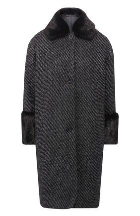 Пальто из смеси шерсти и кашемира с меховой отделкой   Фото №1