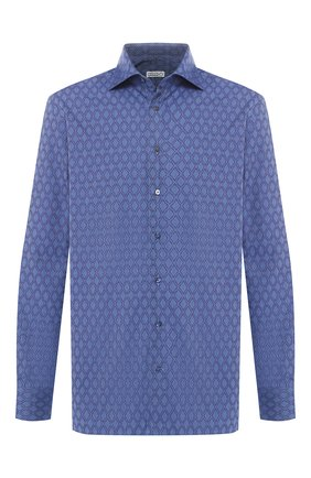 Мужская хлопковая сорочка с воротником кент ZILLI синего цвета, арт. MFQ-MERCU-01247/RZ01 | Фото 1