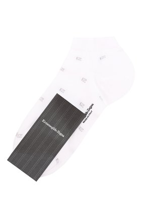 Мужские хлопковые носки  ERMENEGILDO ZEGNA белого цвета, арт. N5V021330 | Фото 1