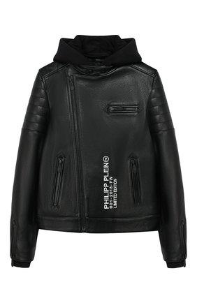 Кожаная куртка с молнией и капюшоном | Фото №1