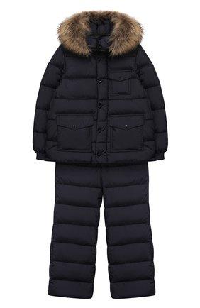Детский комплект из куртки и комбинезона MONCLER ENFANT синего цвета, арт. D2-954-70331-25-68352/8-10A | Фото 1