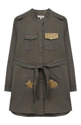 Хлопковое платье-рубашка с поясом и воротником-стойкой   Фото №1