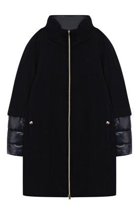 Шерстяное пальто на молнии с воротником-стойкой   Фото №1
