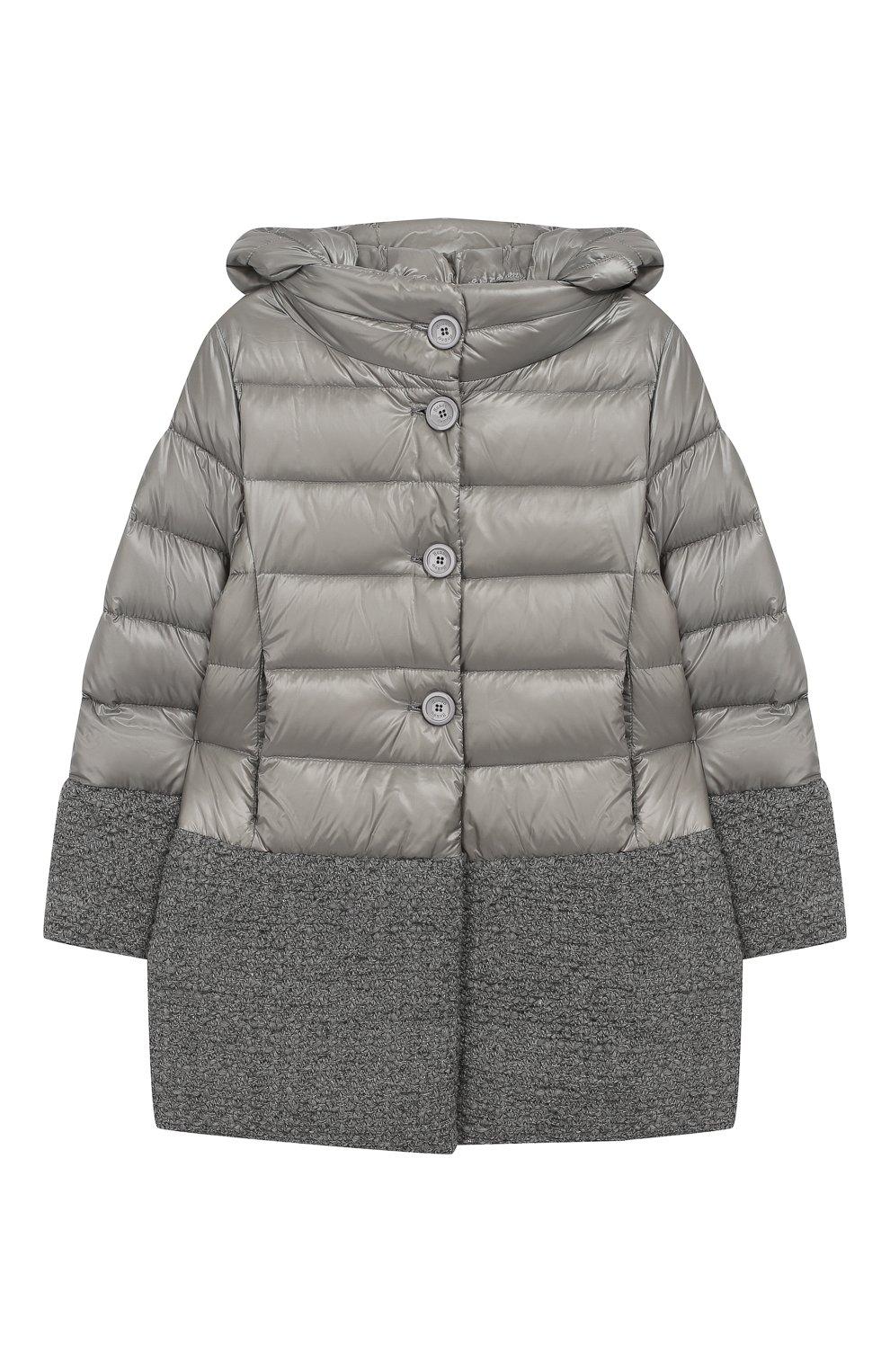 Пуховое пальто с капюшоном   Фото №1