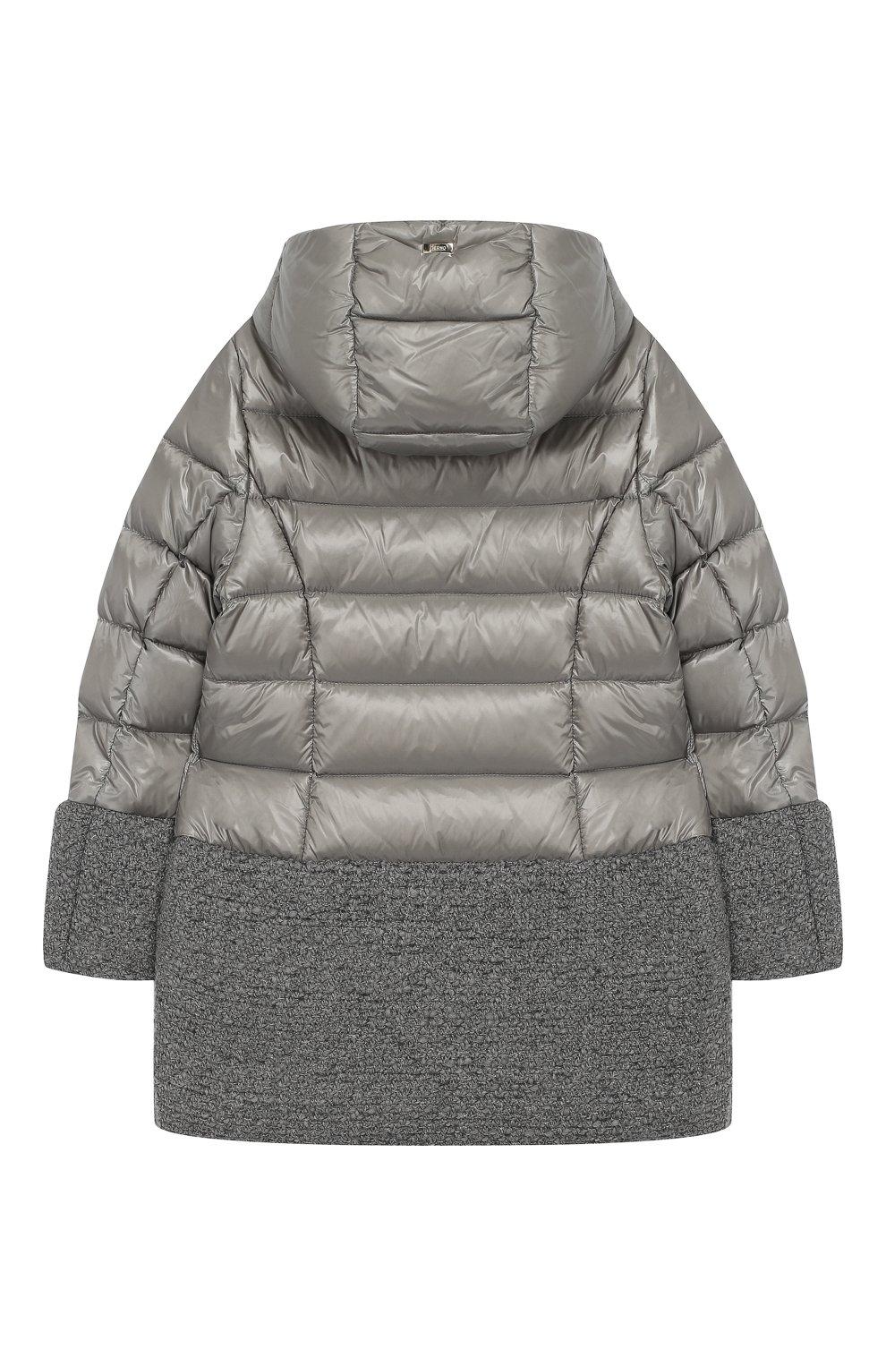 Пуховое пальто с капюшоном   Фото №2