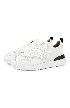 Кожаные кроссовки с перфорацией на шнуровке   Фото №1