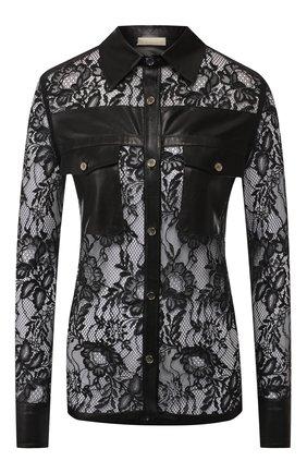 Кружевная блуза с кожаной отделкой | Фото №1