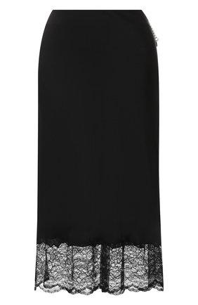 Однотонная юбка с кружевной отделкой   Фото №1