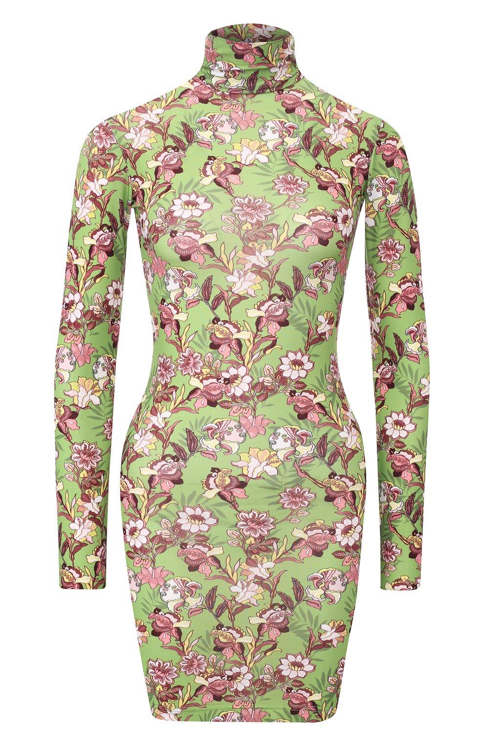 Мини-платье с принтом и воротником-стойкой Vetements зеленое | Фото №1